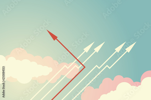Fototapeta  Minimalist stile red arrow changing direction and white ones