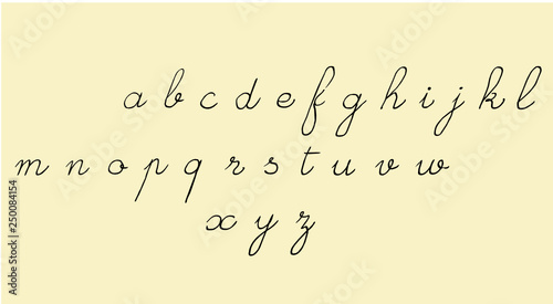 Handwritten old school script font  Latin alphabet, lowercase