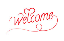 Welcome Lettering And Heart Symbol