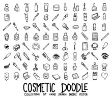 Set Of Cosmetic Icons Drawing Illustration Hand Drawn Doodle Sketch Line Vector Eps10