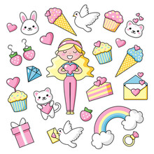 Set Of Cute Kawaii Objects, Girl With Long Blond Hair, Bunny And Hearts. Love. Rainbow Happy Colors. Beautiful Vector Illustration For Greeting Card/poster/sticker.