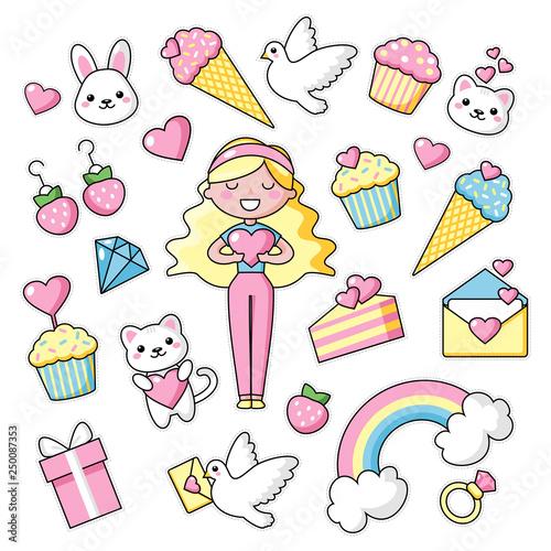 Plakaty do pokoju dziewczynki set-of-cute-kawaii-objects-girl-with-long-blond-hair-bunny-and-hearts-love-rainbow-happy-colors-beautiful-vector-illustration-for-greeting-card-poster-sticker