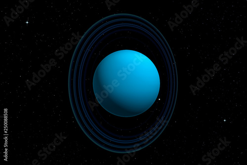 Fotografia  3d rendering of Uranus planet with its rings