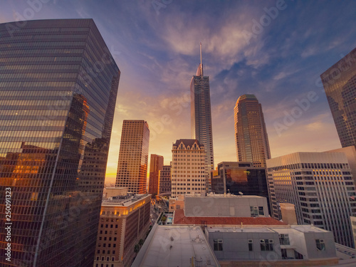 Etiqueta engomada - City of Los Angeles at sunset, downtown buildings skyline. Wide angle.