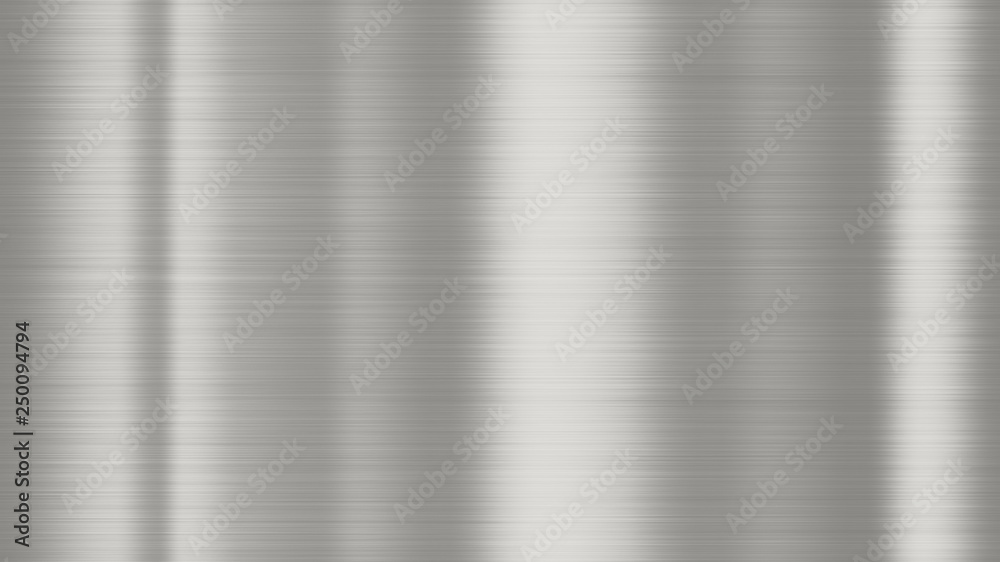 Fototapety, obrazy: Shiny brushed metal background texture. Polished metallic steel plate. Sheet metal glossy shiny silver
