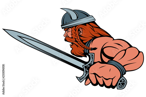 Photo  colored viking warrior with a sword in his hand, suitable as logo or team mascot
