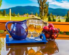 Iced Tea On The Table On The Deck