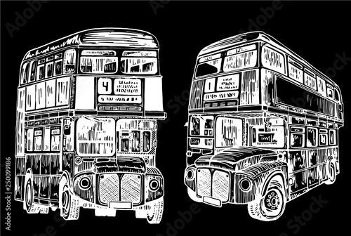 Photo  Graphical set of double decker buses isolated on black background,vector sketch
