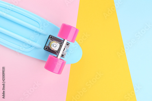 Skateboard on colorful background