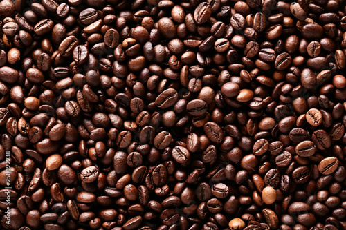 Fotografie, Obraz  Background of brown coffee beans