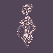 Pregnant Woman Floral Silhouette