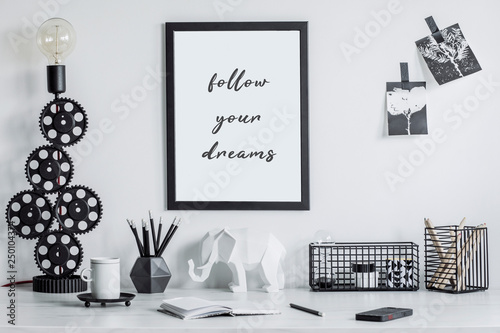 Modern And Stylish Black And White Home Decor Mock Up Creative Desk With Blank Picture Frame