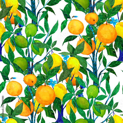 Watercolor Seamless Pattern With Citrus Trees Bright Wallpaper With Orange Lime And Lemon Trees Beautiful Summer Print Surface Design Buy This Stock Photo And Explore Similar Images At Adobe Stock