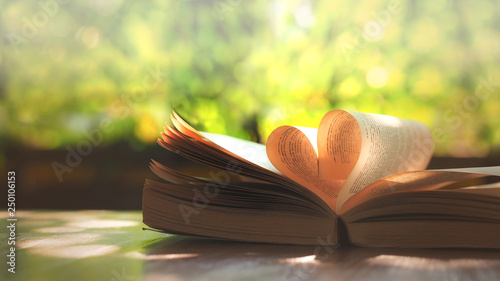 Book page decorate to heart shape for love in valentine's day with blurred background and vintage color tone style, education and business concepts