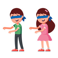 Characters Boy And Girl With Blindfold. Play Children's Games. Vector Illustration