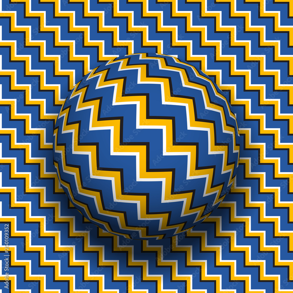 Fototapeta Rotating sphere of zigzag stripes pattern. Vector optical illusion background.