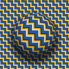 Rotating sphere of zigzag stripes pattern. Vector optical illusion background.