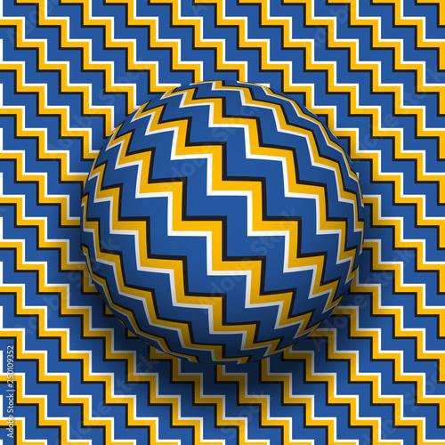 Cuadros en Lienzo Rotating sphere of zigzag stripes pattern