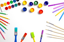 Creative Background With Art Supplies On White Background
