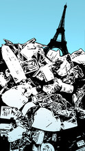 Illustration Of A Garbage Mountain In Paris. Waste In Modern Society. Plastic Waste In Pop Art With Eiffel Tower