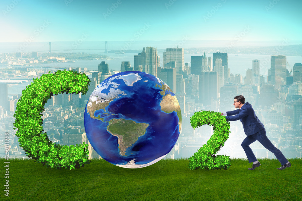Fototapeta Ecological concept of greenhouse gas emissions