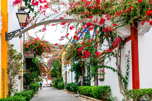 Fototapety, obrazy: Charming floral decorated streets of Puerto de Mogan in Gran Canaria island