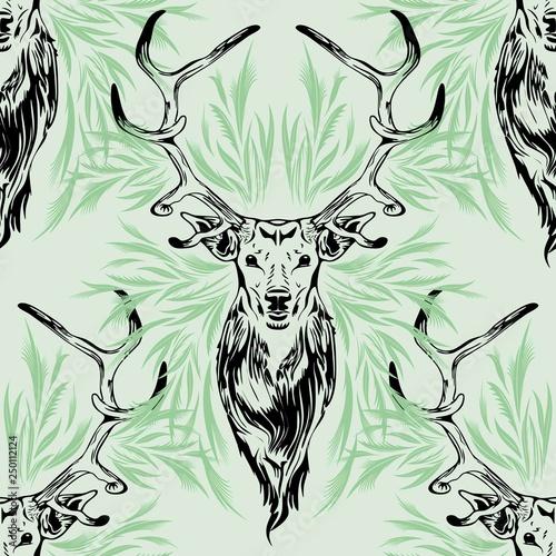 Tuinposter Draw Deer Portrait Black Stroke on Green Seamless Pattern Vector Design