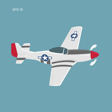 Legendary WWII American Fighter Aircraft. Single Piston Engine War Machine Vector Illustration
