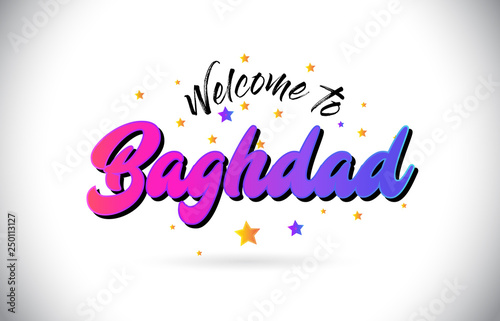 Fényképezés  Baghdad Welcome To Word Text with Purple Pink Handwritten Font and Yellow Stars Shape Design Vector