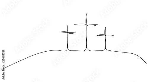 Foto Religious easter background with calvary hill of the cross and jesus silhouettes one line drawing, vector illustration