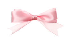 Pink Bow Isolated On White Background. Insulation.