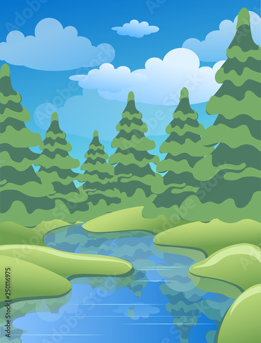 Fotobehang Olijf Spring or summer landscape with green meadows, clouds, trees, river and blue sky. Vector cartoon image of nature.