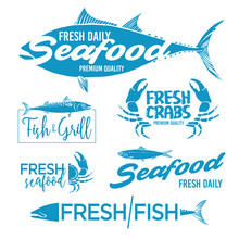Set Of Seafood Logos. Grill, C...