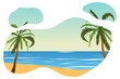 Tropical landscape. Palm, sand, ocean on background. Vector illustration