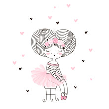 Cute Girl Doodle Drawing In Pink Ballerina Skirt Sitting On Vintage Chair. Vector Illustration For Girlish Designs Like Textile Apparel Print, Wall Art, Poster, Stickers, Cards And More.