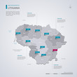 Lithuania vector map with infographic elements, pointer marks.