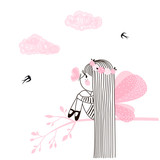 Cute little fairy girl with long hair sitting on tree branch with butterfly on her nose. Vector doodle illustration in pink colour for girlish designs like textile apparel print, wall art, poster - 250123594