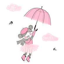 Cute Little Girl In Pink Ballerina Skirt And Stripy Scarf Flying Away In The Sky With Her Pink Umbrella. Vector Funny Doodle Illustration For Girlish Designs Like Textile Apparel Print, Wall Art