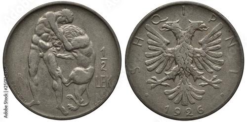Valokuvatapetti Albania Albanian coin 1/2 half lek 1926, Hercules wrestling Nemean lion, eagle w