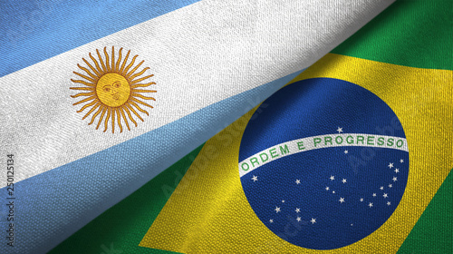 Fotobehang Brazilië Argentina and Brazil two flags textile cloth, fabric texture
