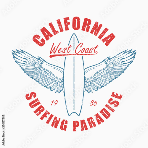California slogan t-shirt with surfboard and wings Canvas Print