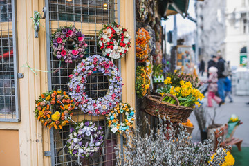 Fototapeta na wymiar easter flower wreaths in a flower shop