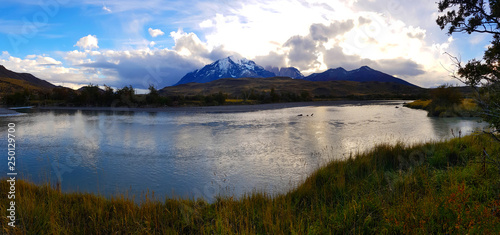 Fotobehang Bergen View of Torres del Paine mountains and lakes in Chile