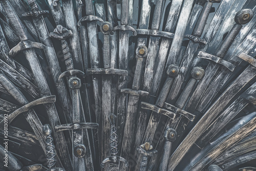 Metal knight swords background. Close up. The concept Knights. Tablou Canvas