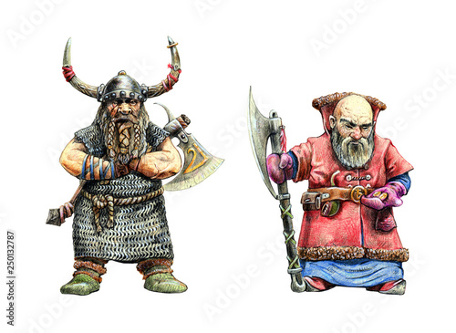 Dwarves warriors drawing Canvas Print