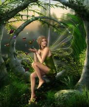 Beautiful Fairy Girl Playing With Butterflies In An Enchanting Fantasy Forest