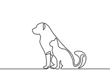 Continuous Line Drawing Of Dog...
