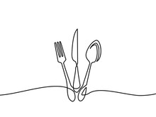 Continuous One Line Drawing.Forks, Spoons, Knife Plates And All Eating And Cooking Utensils, Can Be Used For Restaurant Logos, Cakes, Business Cards, Banners And Others. Black And White Vector Illustr