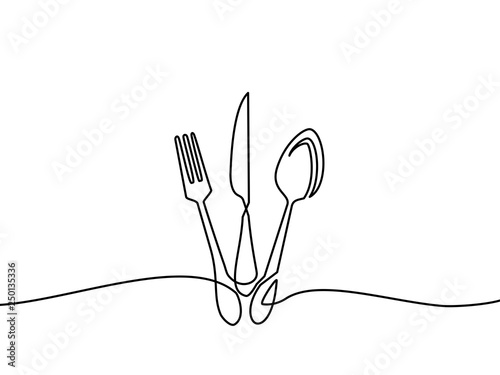 Fototapeta Continuous one line drawing.Forks, spoons, knife plates and all eating and cooking utensils, can be used for restaurant logos, cakes, business cards, banners and others. Black and white vector illustr obraz