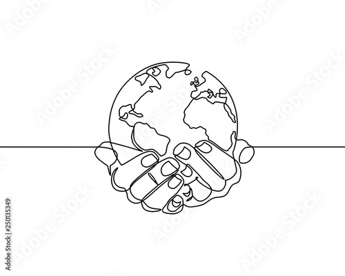 Continuous line drawing of hands holding Earth globe  vector